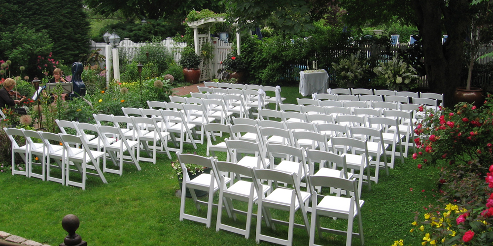 Outdoor Garden Wedding Ceremony in Sandwich, Cape Cod MA