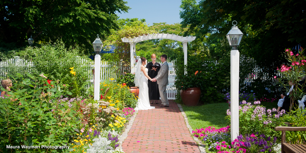 Outdoor Wedding Vows in the Gardens in Sandwich Mass